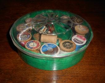 Vintage Round Plastic Thread box w/ Thread / Spools