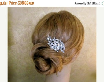 SALE - Vintage Inspired Bridal Hair Comb, Wedding Hair Accessories, Rhinestone Hair Combs, leaf hair comb -Made to order