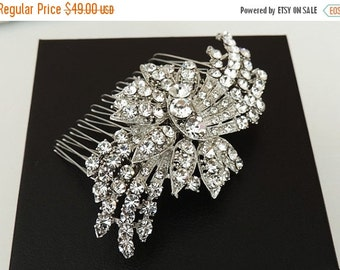 SALE - Emily - Vintage inspired  bridal hair comb, wedding hair accessory, crystal hair comb, wedding hair piece