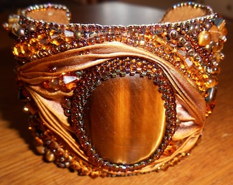 Gorgeous Golds and Browns Bead Embroidery Tiger's Eye Gemstone with Swarovski Crystals  and Shibori Silk Cuff Bracelet