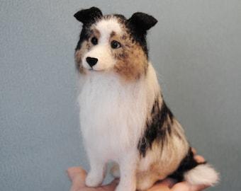 Australian Shepherd, Needle Felted Dog, Felted Pet Portrait - English Shepherd, Collie, Shetland Sheepdog or any other breed- made to order