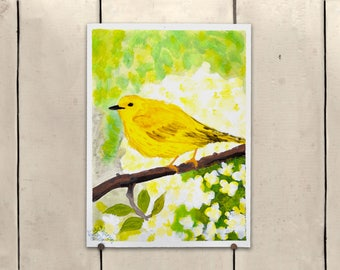 """Yellow Bird Original Art 9x11.5"""" One of a Kind 100% of the profits go directly to artists with disabilities Item 64 Sharon M."""