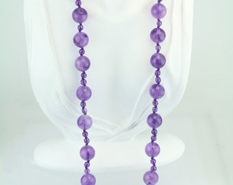 "32"" Hand Knotted Amethyst Beaded Necklace with Gold Filled clasp 85-10431"