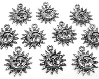 10 Pewter Sun and Moon Charms -0177