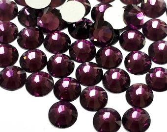 Purple Rhinestone (Amethyst) 144pcs FlatBack Crystal Non Hotfix size in 2mm 3mm 4mm 5mm 6mm