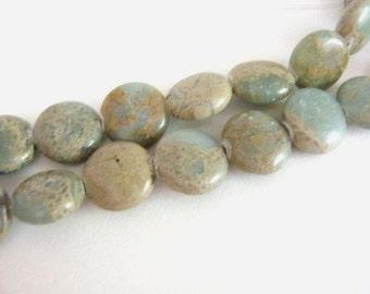 13mm Coin Aqua Terra Jasper Beads Gemstone Flat Round Impression Jasper
