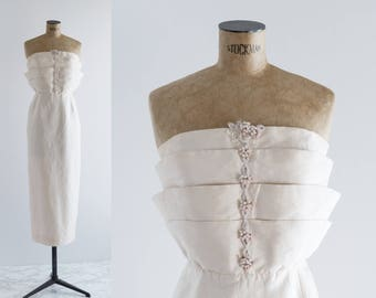 70's Ivory Tube Dress- Vintage 1970s Silk Strapless Gown- Perla Dress