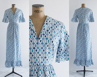 70s Emilio Pucci Gown - 1960s Geometric Print Maxi Dress - Blue And White Designer Vintage