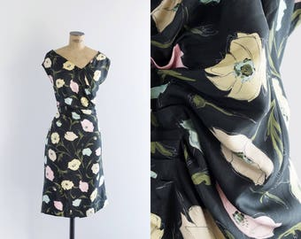 1960s Black Floral Dress - Vintage 60s Silk Evening Dress - Floral Arrangement Dress