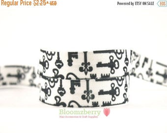 """Closed Out Sale 40% OFF 5/8"""" PRINTED Fold Over Elastic - White With Black Keys -  Printed Elastic - Keys Printed Elastic - Keys Elastic FOEH"""