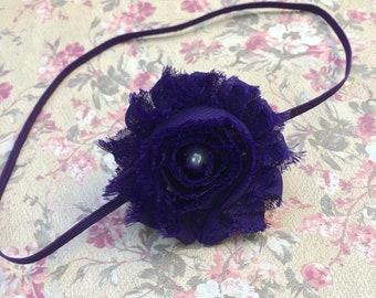 Royal Purple Baby Headband, Newborn Headband, Shabby Headband, Toddler Headband, Hair Accessories for Babies
