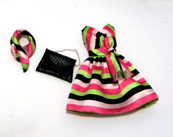 Multi color striped  Mod Surplice dress hairband  & faux leather handbag for original Silkstone Barbie with straight body new