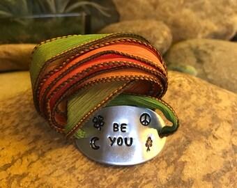 Be you silk wrap bracelet - hand stamped yoga jewelry