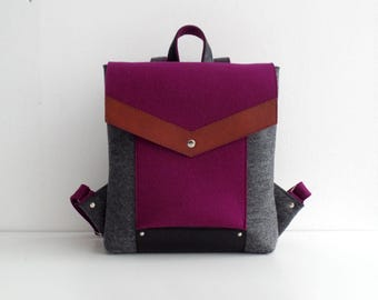 Purple Gray Black Brown Felt Leather Backpack