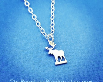 Tiny Moose Necklace, Moose on the Loose, Moose Lover, Mountain Jewelry, Hunting Jewelry, Girls Who Hunt, Mountain Lovers, Hunting Gifts