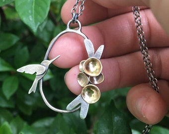 Hummingbird Blossom Cluster Necklace