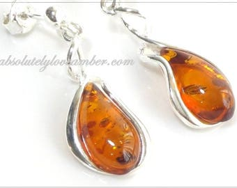 Genuine Natural Baltic AMBER Earrings Stud Sterling Silver 925