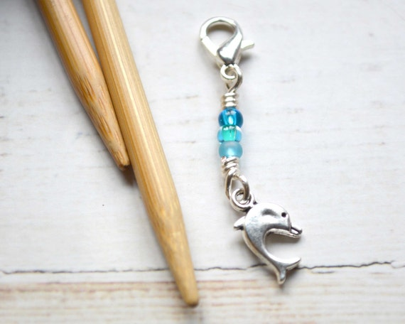 Playful Dolphin / Knitting Progress Marker  / Removable Stitch Marker / Crochet Stitch Marker / Locking Stitch Marker
