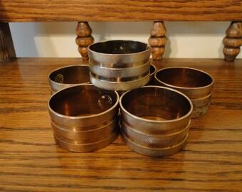 Brass Napkin Rings, Set of 6, Made in Hong Kong, Napkin Holder