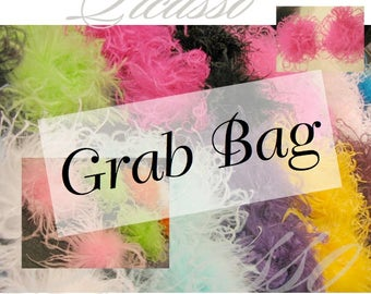 """Curly Ostrich Puffs 20 Pack Grab Bag - 4"""" Curly Ostrich Feathers Puffs - RANDOM Selection of Ostrich Puffs from our collection of 25 colors"""