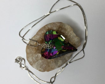 Swarovski crystal wild heart pendant with sterling silver chain bail and box chain.