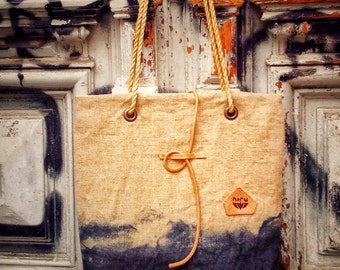 Nagano bag, upcycled, hand dyed, handcrafted linen canvas shoulder bag, zen bag with hemp rope straps. Streetstyle, black, grey, XL size.