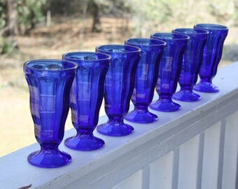 Vintage Cobalt Blue Glasses Tall Parfait Sundae Ice Cream Anchor Hocking Vases Boho Wedding Decor Table Setting