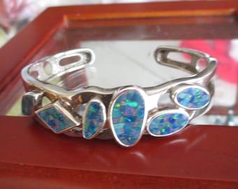 Vintage 925 Silver Blue Fire Opal Stone Bracelet, Stamped 925 WK, Blue Stone Bracelet, Artisan Bracelet, Gift For Her, October Birthstone