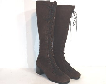1960s El Greco brown suede lace up boots with box - size 6.5 - 60s lace-up boots - gogo boots - 1960s lace-up boots - go go boots