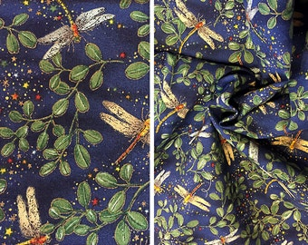 Vintage fabric by the yard   Destash sparkly dragonfly print quilting cotton (price is PER YARD)