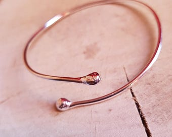 Open Bangle Sterling Silver, Bangle Bracelet, Mothers Gift, Valentines Gift, Girlfriend Gift