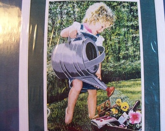 Embroidery Kit,Little Girl with Watering Can,Heavy Downpour,Needle Treasures - FREE SHIPPING