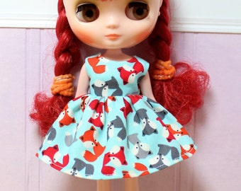 SALE..BLYTHE Middie doll Its my party dress - colorful foxes