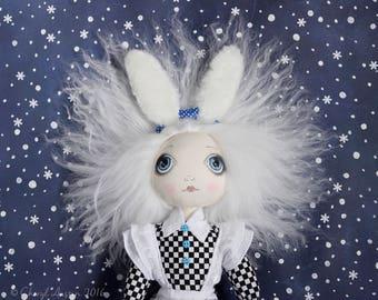 OOAK- Alice In Wonder Land- Tim Burton Inspired-Big Eyed- Art doll - Fabric -Cloth- Doll Artist Cheryl Austin