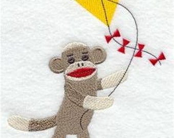 Sock Monkey Flies a Kite Embroidered Towel | Flour Sack Towel | Linen Towel | Dish Towel | Kitchen Towel | Hand Towel | Embroidery