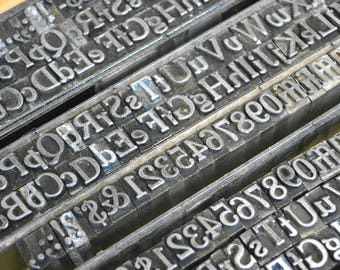 Complete Set of Antique Metal Letterpress Type - 24 point Cheltenham Bold Italic - Crafts, Art, Mixed Media, Collectible, Metal Letters