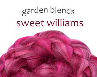 Blended Merino roving - spinning fiber - 100g/3.5oz - dark pinks - Garden Blends - SWEET WILLIAMS