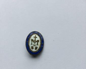 vintage enamel  sacred heart brooch