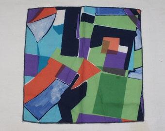 "90's Vintage ""GEOMETRIX"" Abstract Patterned Pocket Square"