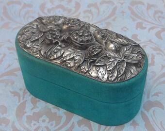 SUMMER SALE Silver Pomegranate Jewelry Box, Trinket Box, Love Fertility Abundance Prosperity Symbol, Velour and Silver Jewelry Box