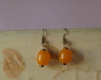orange dangle earrings, ecofriendly drop earrings