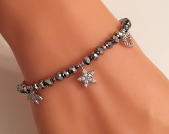 Sterling Silver 925 White Zirconia, Gray Crystal Bracelet, Star, Heart, Bird, White Cubic Zircon Charm Bracelet,Silver, Valentines Gifts