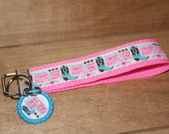 """Quote webbing wristlet keychain/  """"From her cowboy boots to her down home roots""""- key fobs for her.  Country Cowgirl Down home southern girl"""