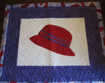 Red Hat Society Quilted Wall Hangin