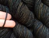 40% Off Cashmere Merino Superwash Hand Dyed Wool Lux Worsted Yarn Blackened  4 oz 185 Yards