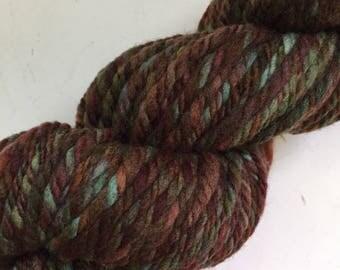 40% Off Handspun Merino Wool Yarn Browns Greens Super Bulky 62 Yards 2.3 oz