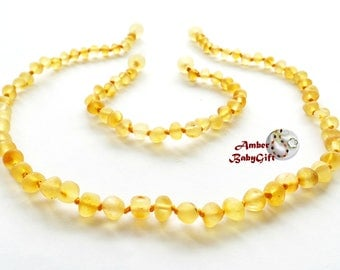 Raw (Unpolished) Amber Teething Necklace and Bracelet / Anklet - Unpolished Lemon Amber Beads - Screw clasp - Choose Your Length, 28R