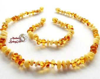 "SALE-> Set of Baltic Amber Teething Necklace 12.5""- 13.0"" and Bracelet / Anklet 5.5""- 5.9"" - Milky and Lemon Amber Beads - Screw Clasp, 39R"