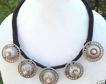 Vintage Antique Tribal Old Silver Earplug Necklace India