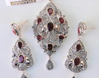 Victorian Diamond Rubelite Gold Silver Pendant Earring Pair Set